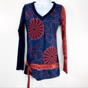 DESIGUAL blue floral hearts long sleeve top